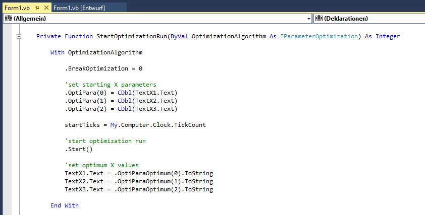 Start of an Optimization Run